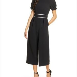 Eliza J Bow Puffed Sleeve Crop Wide Leg Jumpsuit